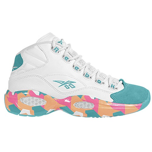 Reebok Question Mid - Men's - Basketball - Shoes - White/Solid Teal/Fluorange/Victory Pink