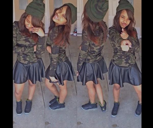 skirt black leather skirt leather camouflage camouflage beanie beanie jordans trill trill dope supreme bomb bomb girls shirt hat snapback kush new era