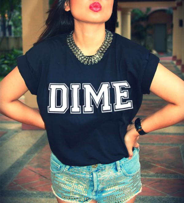 t-shirt dime dimepiece black graphic tee graphic tee topshop navy blue tshirt