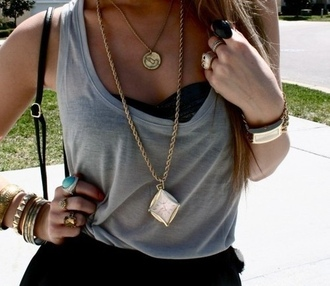 jewels necklace clock stacked bracelets gold black skirt