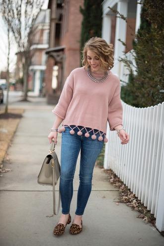 something delightful blogger sweater shoes bag jewels pink sweater handbag loafers