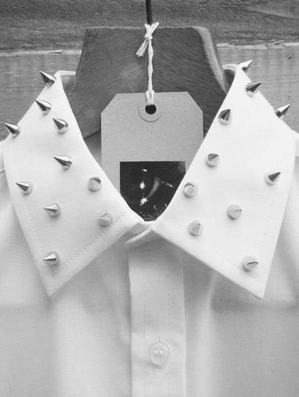 blouse spikes punk punk rock pastel goth pastel goth white blouse white studs button up collared shirts