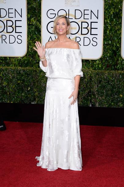 dress kristin wiig Golden Globes 2015 white dress long dress boho chic