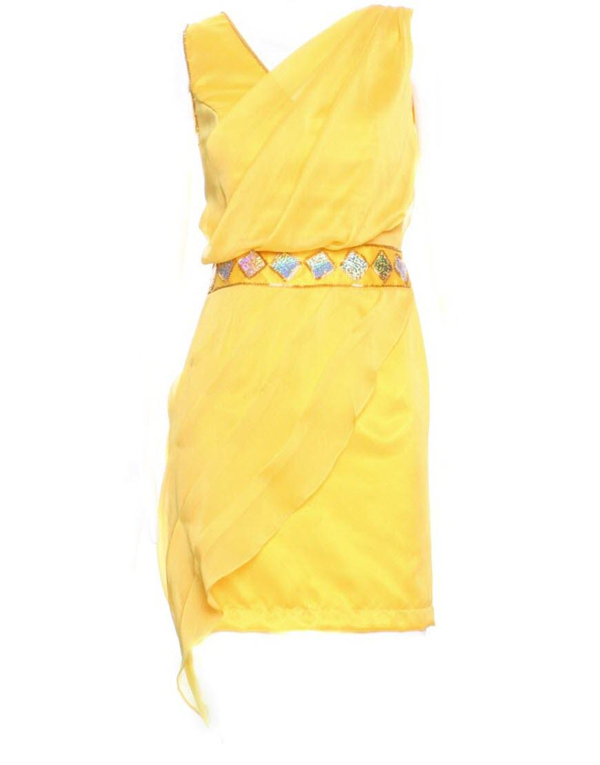 Draped beaded embellishment dress in yellow