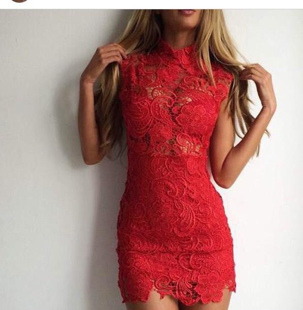 dress red dress lace dress mini dress