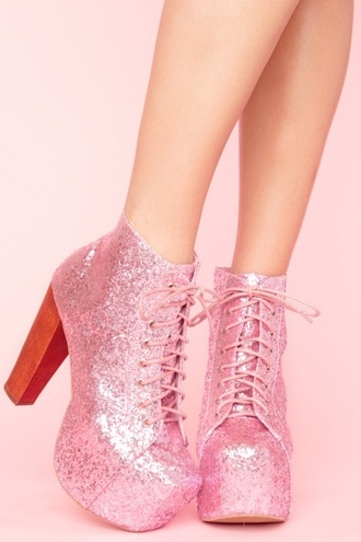 shoes pink glitter high heels thick sparkle girl girly lace glitter boots sweet jeffrey campbell lita