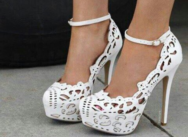 shoes heels white