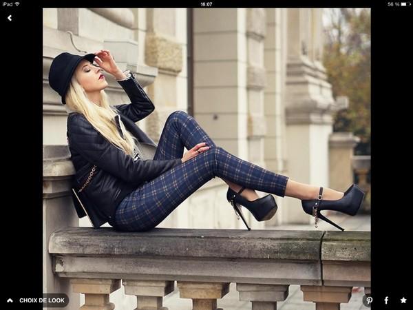 pants carreaux high heels black high heels