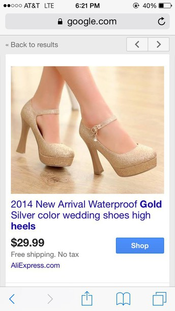 shoes gold high heels