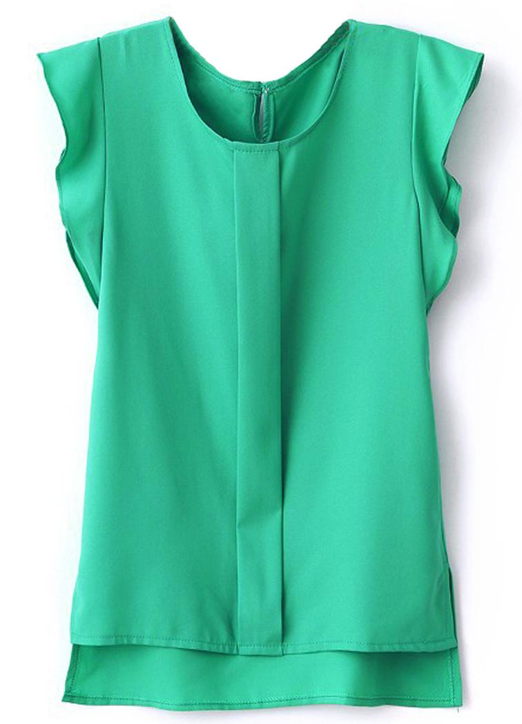 Green Puff Sleeve Split Chiffon Blouse - Sheinside.com