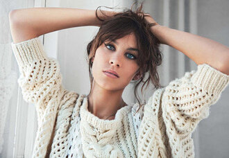alexa chung cable knit white sweater sweater