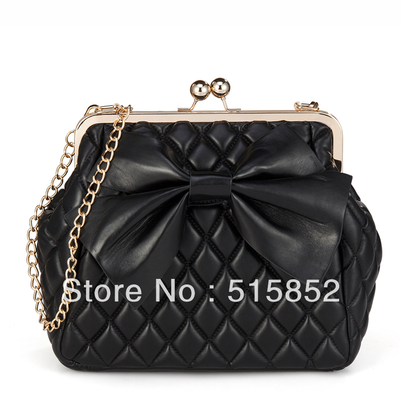 C bands  plaid bow chain bag shoulder bag clip Diamond lattice women's handbag brand designer day clutch black 29x26x10cm c003-inClutches from Luggage & Bags on Aliexpress.com