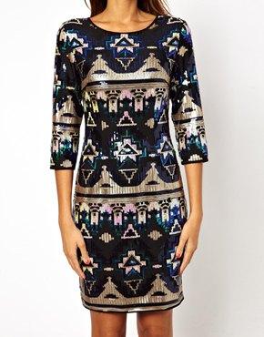TFNC | TFNC Bodycon Mini Dress Aztec Sequin at ASOS