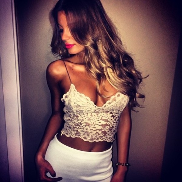 tank top top lace white sexy summer top crop tops shirt crop tops strappy white top white tank top floral print top floral flowery lace white crop tops t-shirt white crop tops