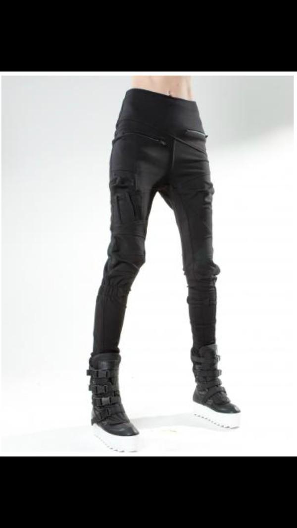 black badass cool leather black leggings goth street goth pants shoes