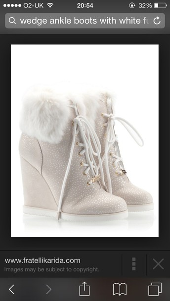 shoes fur boot boots ankle boots wedges