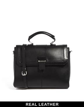 ASOS   ASOS Leather Top Handle Bag With Metal Bar at ASOS