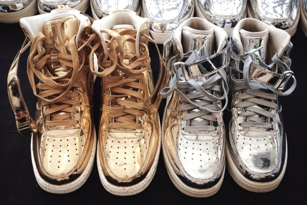 shoes silver gold metallic sneakers