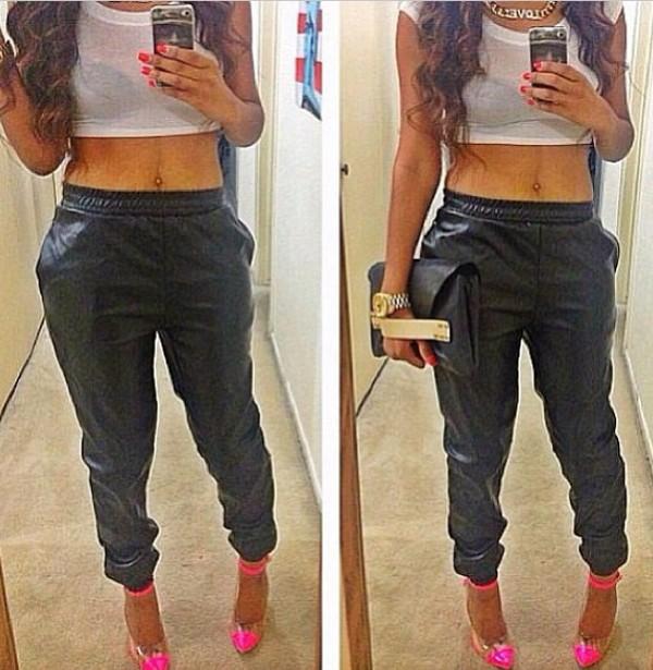 pants leather shirt