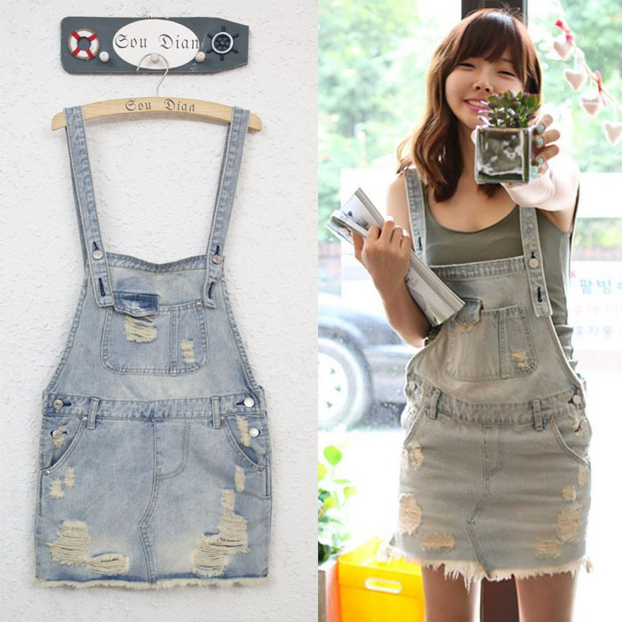 New arrival 2013 women's denim overalls vintage distress loose bib skirt for girls campus jumpsuits Free shipping-in Jumpsuits & Rompers from Apparel & Accessories on Aliexpress.com