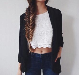 cardigan hat blouse tank top shirt top lace top white top crop tops white crochet trim top weiß creme weiß spitze jacket dentelle blanco white white shirt black blazer t-shirt