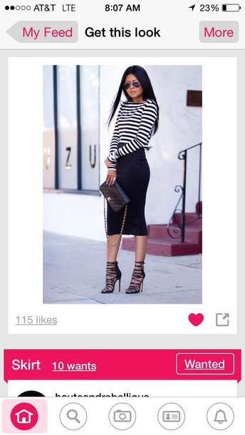 blouse skirt heels too