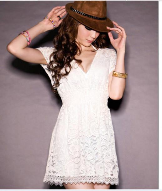 dress lace dress fashion style v neck dress
