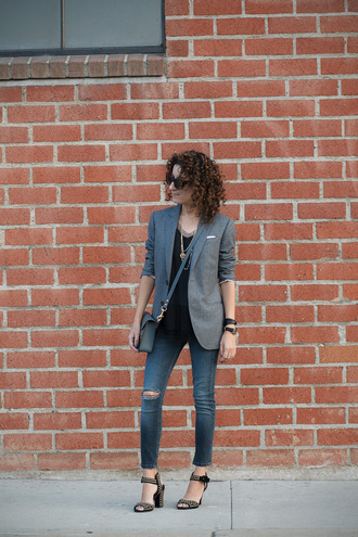 alterations needed blogger jacket jeans shoes jewels sunglasses blazer black top ripped jeans shoulder bag thick heel grey blazer crossbody bag grey bag bag blue jeans sandals sandal heels high heel sandals black sunglasses spring outfits