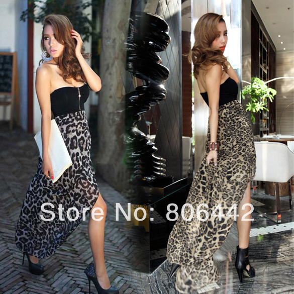 New Women Sexy Chiffon Bustier Party Maxi Evening Club Dress Leopard Pattern  3618-in Party Dresses from Apparel & Accessories on Aliexpress.com