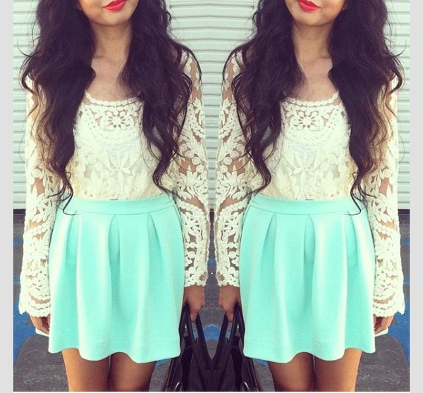 blouse lace top skirt