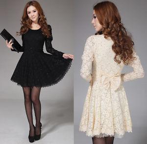 Fashion Korean Women's Long Sleeve Spoon Neck Lace Cocktail Party Mini Dress   eBay