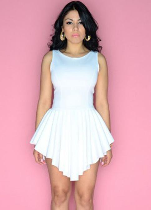 White Sleeveless Asymmetrical Pleated Flare Dress - Sheinside.com