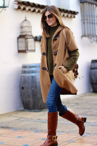 marilyn'scloset blogger sunglasses shoes jeans bag beige coat winter outfits green sweater knee high boots boots