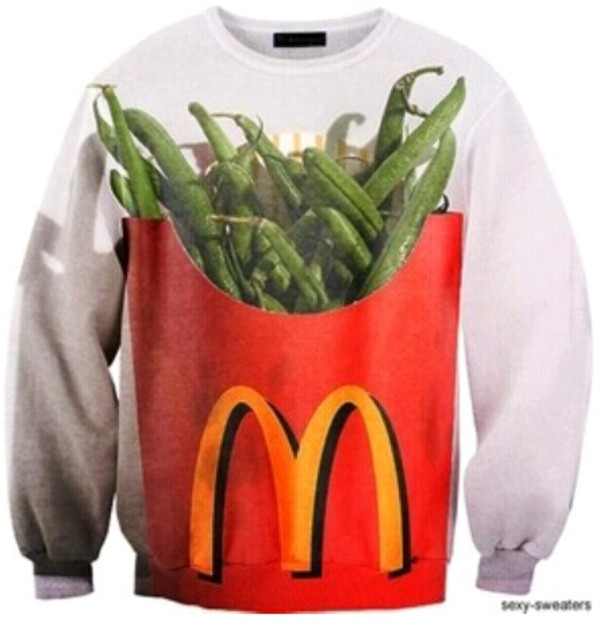 sweater healthy mcdonald's funny crewneck sweater food new years resolution printed sweater lifestyle