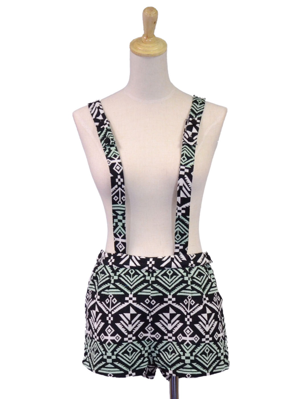 English Rose Bright Aztec Print Overalls Romper With Button Adjustable Straps [2Y0216] - $34.90 : Alilang, Fashion Costume Jewelry & Accessories Store