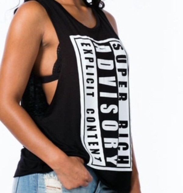 top explicit content parental advisory explicit content parental advisory explicit content parent advisory explicit content parential advisory rich fashion tank top tank top tank top tanks tank top tanks top tops shirts cute cute t shirt cute top cute tees cute tank tops tomboy comfy comfy everyday wear black white black and white black & white tank top black & white top itsit clothing itsit boutique dope new york city new york city dope l.a. style sylvia gaczorek style summer outfits instagram print mesh