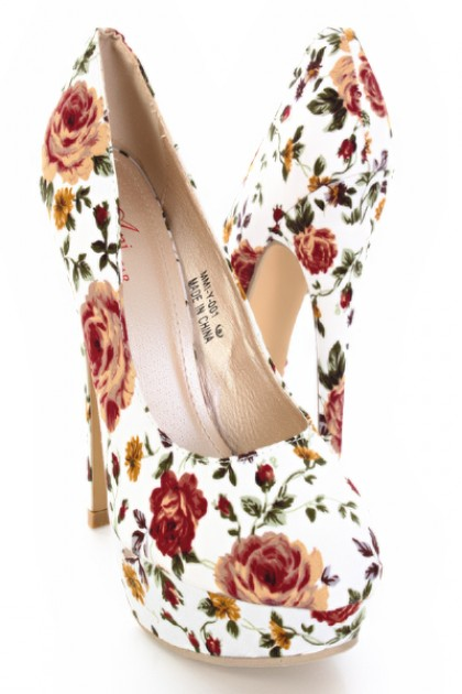 White Floral Printed Almond Shape Close Toes Platform / Sexy Clubwear | Party Dresses | Sexy Shoes | Womens Shoes and Clothing | AMI CLubwear