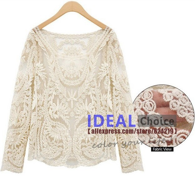 Fashion 2014 Women's Blouses Plus Size Gauze Embroidery Crochet Vest Tee Tops Lace Shirts Solid Hollow Out Blouse For Women H111-in Blouses & Shirts from Apparel & Accessories on Aliexpress.com