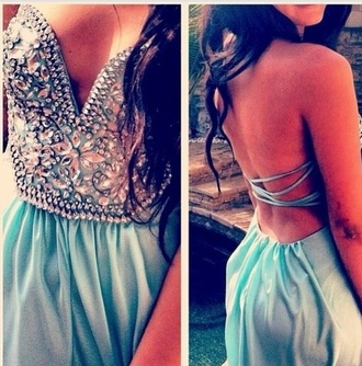 dress prom dress blue dress studded dress strapless dress backless dress