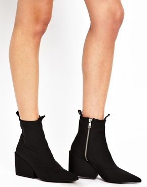 Cheap Monday   Cheap Monday Cube Black Heeled Ankle Boots at ASOS