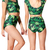 Women's Green Maple Leaf Print Short Sleeve T-shirts   High Waist Triangle Pant Short