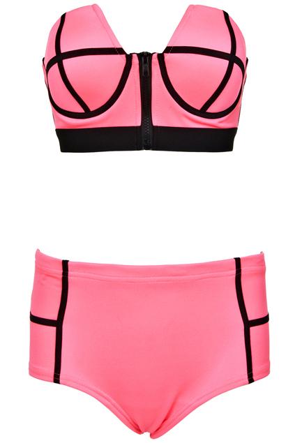 ROMWE   Dual-tone Rose Bandeau Set, The Latest Street Fashion