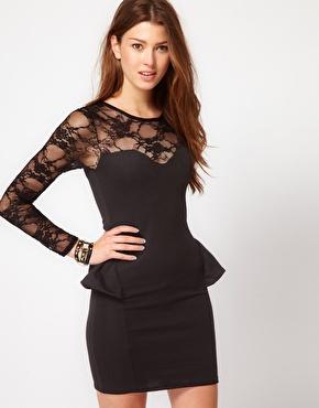Club L | Club L Peplum Dress With Lace Sleeve at ASOS
