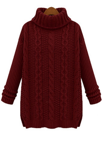 Must-have Turtleneck Cable Sweater - OASAP.com