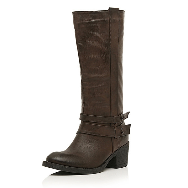 Buckle Decorate Simple Pointed Toe Mid-Heel Long Boots