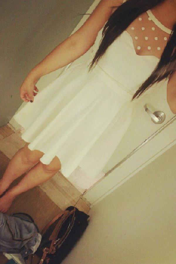 dress white white dress hipster girly polka dots