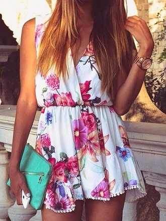 romper foral floral dress dungaree thecarriediaries carrie floral summer summer dress dress outfit floral tank top bag pattern white colorful patterns