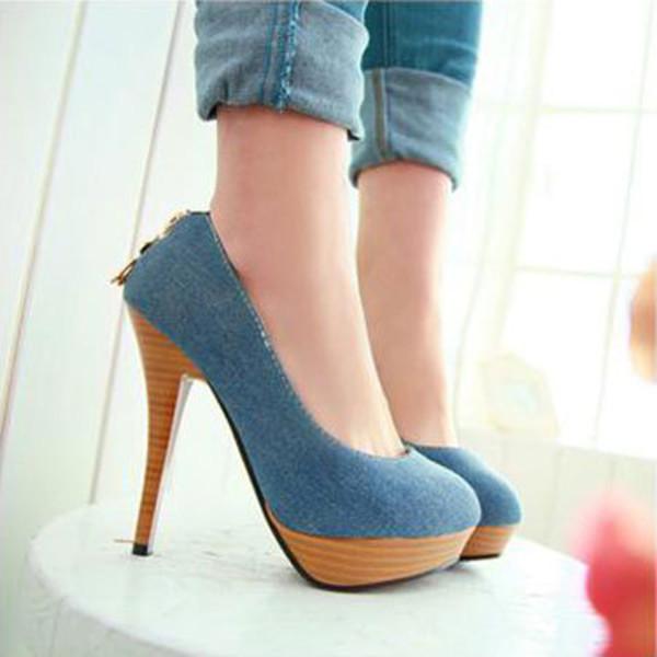shoes high heel blue gold pendant