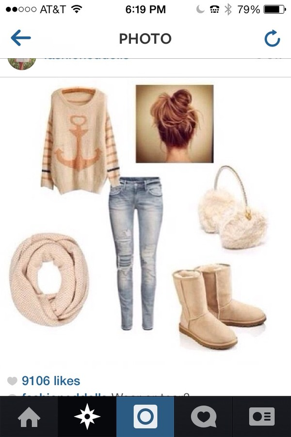 jeans blue scarf sweater shoes