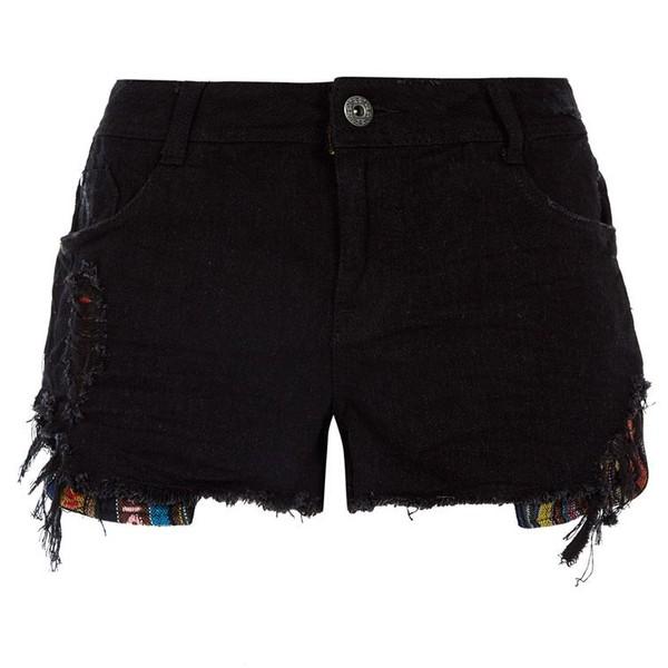 Black Tapestry Detail Denim Shorts - Polyvore